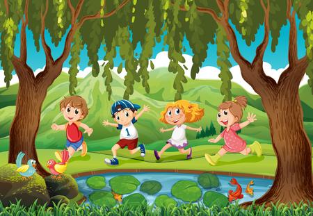 Quattro bambini in esecuzione nel parco illustrazione
