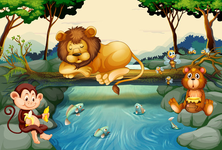 tropical fruit: Wild animals on the river illustration