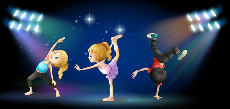 Three kids dancing on the stage illustration