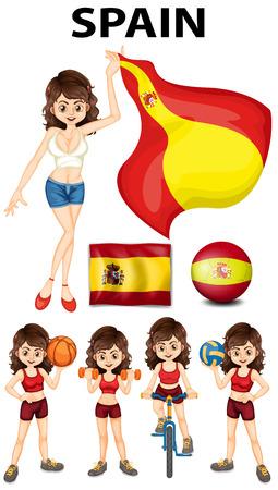 spainish: Spainish girl and many sports illustration Illustration