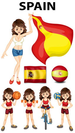 Spainish girl and many sports illustration Illustration