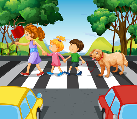 Children and dog crossing the road illustration
