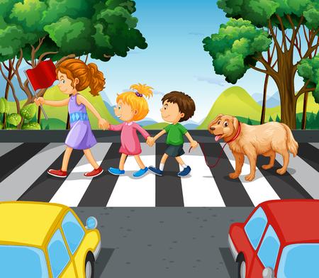 Niños y perro que cruzan la ilustración de la carretera Ilustración de vector