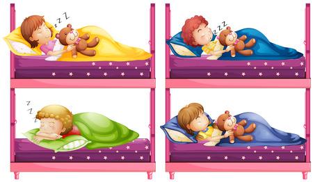 bunkbed: Four children sleeping in bunkbed illustration