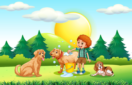 dog park: Boy giving dogs bath in the park illustration