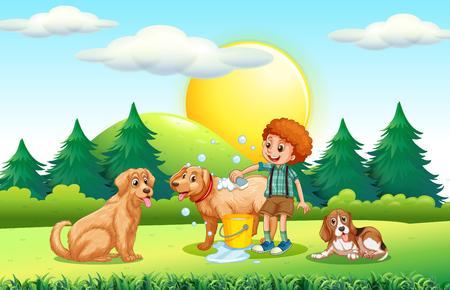 boy bath: Boy giving dogs bath in the park illustration