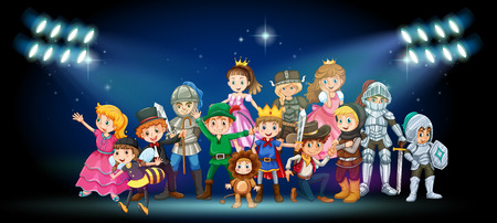 Actoren in kostuums op het podium illustratie Stock Illustratie