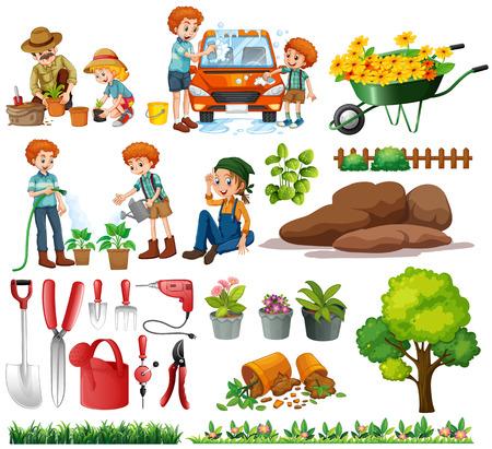 Familienmitglieder Aufgaben und Garten Illustration tun