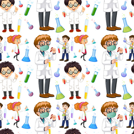 scientists: Seamless male and female scientists illustration