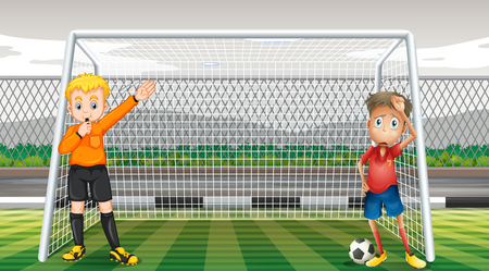 goalkeeper: Goalkeeper and referee in the field illustration