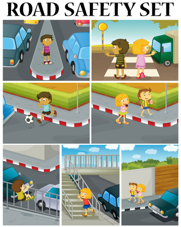 crossing street: Scenes of children and road safety illustration Illustration