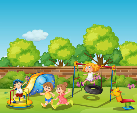 Kids playing in the playground at daytime illustration