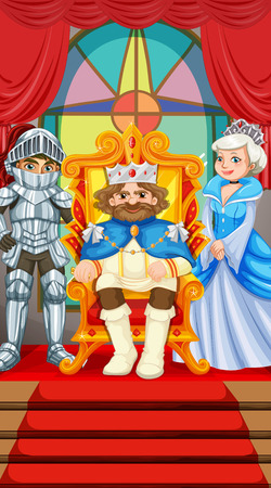 royal person: King and queen at the throne illustration
