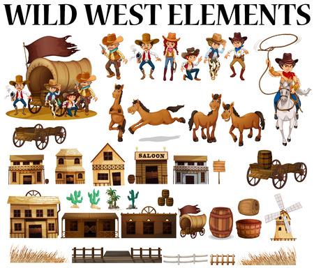 carreta madera: Vaqueros del oeste salvajes y edificios ilustración