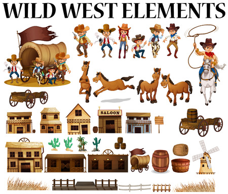 Wild west cowboys en gebouwen illustratie Stock Illustratie