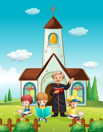 Priest and children at church illustration Stock Illustratie