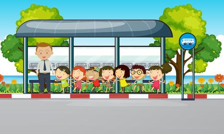 Nauczyciel i dzieci czekają na autobus ilustracji
