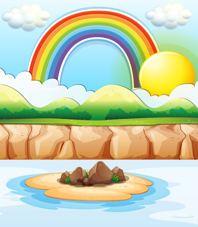 rainbow scene: Scene with rainbow at sea illustration