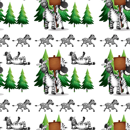pinetree: Seamless background  with zebra and pinetree illustration
