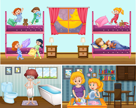 slumber party: Four scenes of people in the house illustration Illustration