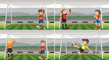 cancha de futbol: Cuatro escenas de porteros en el campo Ilustración Vectores