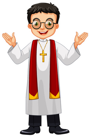 preacher: Priest wearing glasses and cross illustration