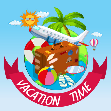 vacation time: Vacation time with bag and airplane illustration