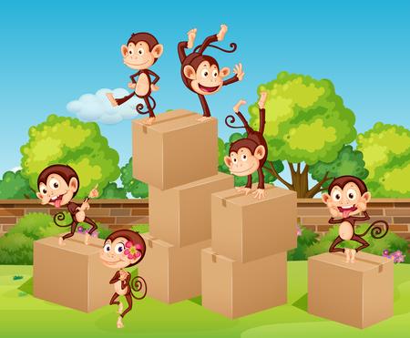 climbing up: Monkeys climbing up the boxes illustration