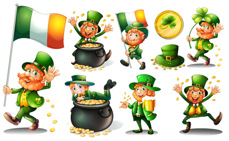 the irish image collection: Leprechaun and gold in pot illustration Illustration