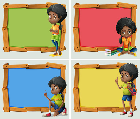 Frame design with African American girl illustration