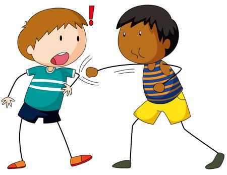Two boys hitting and punching illustration 向量圖像
