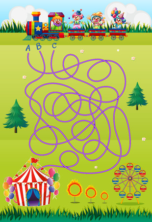 amusement park rides: Game template with clowns and circus illustration