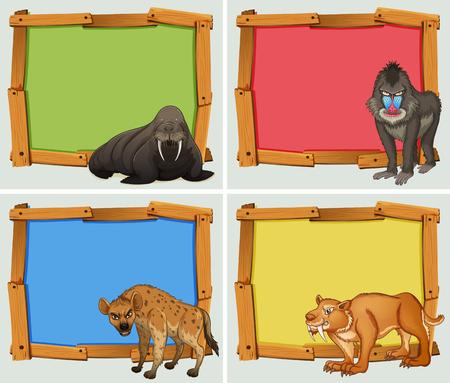 blank sign: Frame design with wild animals illustration Illustration