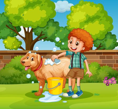 boy bath: Boy giving dog bath in the park illustration