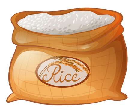 Bag of rice on white background illustration