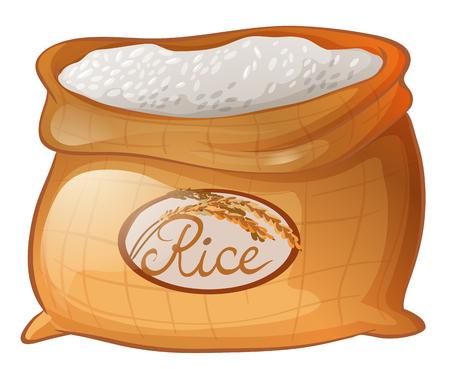 Zak rijst op witte achtergrond illustratie