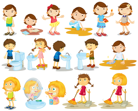 toilet brush: Girls and boys doing chores illustration