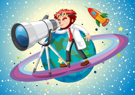 to a scientist: Scientist with giant telescope illustration