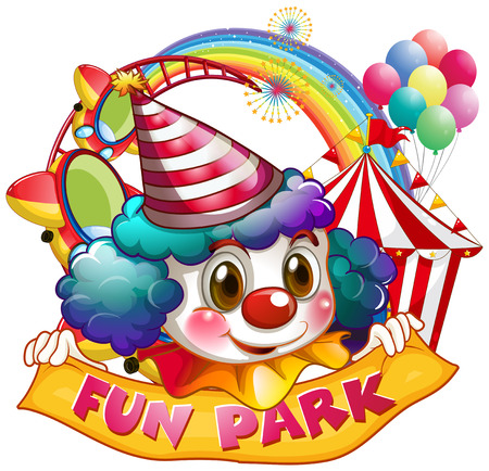 amusement park rides: Jester and fun park sign illustration Illustration