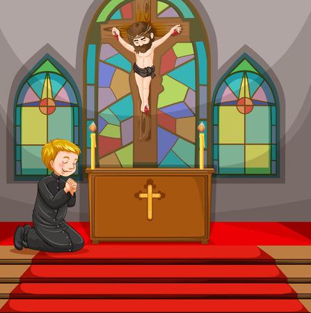 Priest tun Gottesdienst in der Kirche Illustration Vektorgrafik