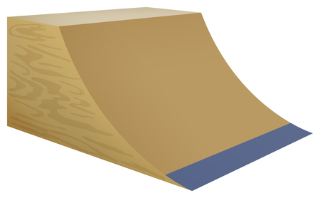 ramp: Wooden street ramp on white background illustration