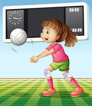 score board: Girl playing volleyball in the field illustration