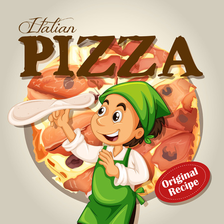 pizza dough: Chef and italian pizza illustration