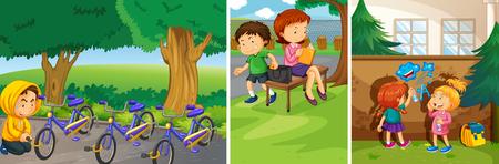 niños malos: niños malos que hacen cosas malas en la ilustración pública
