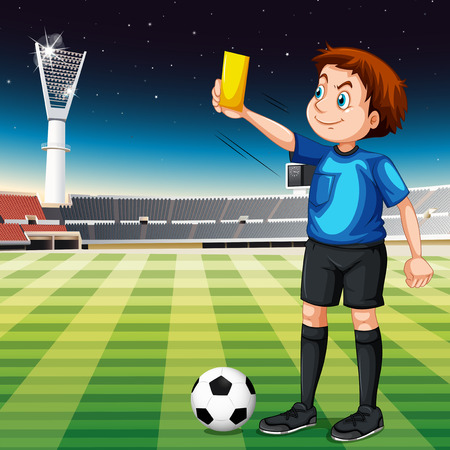yellow card: Referee showing yellow ticket in football field illustration