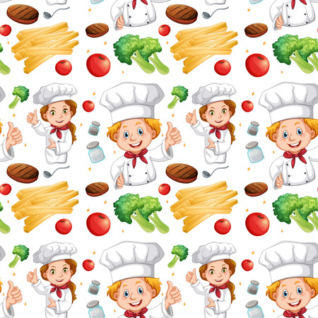 ingredients: Seamless chef and different ingredients illustration Illustration