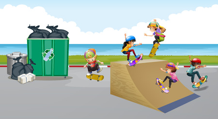 ramp: Kids playing skateboard on the ramp illustration