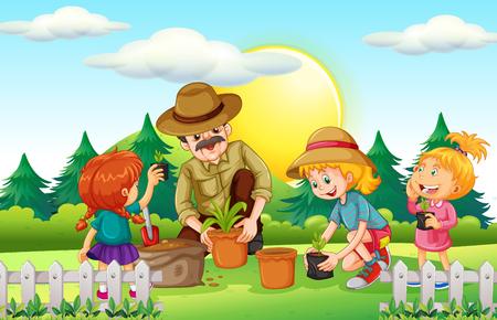 La gente la plantación de árboles en el parque de la ilustración