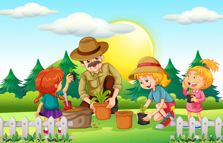 tree planting: People planting tree in the park illustration