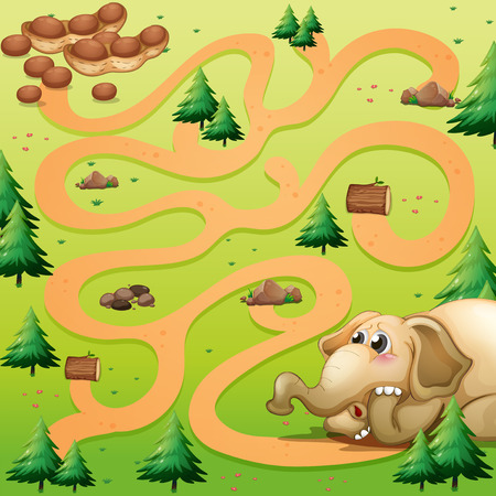 Game template with elephant and peanut illustration